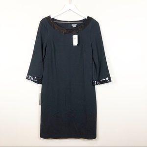 Ann Taylor Black Sheath Sequin Trim Dress 4 NWT